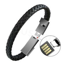Outdoor Portable Leather Mini Micro USB Bracelet Charger Data Charging Cable Syn