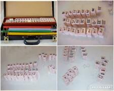 VINTAGE COMPLETE 152 PINK TILE MAH JONG SET w/ 4 RACKS DICE & HARD CARRYING CASE