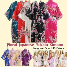 Womens Silk Satin Kimono Robe Soft V-Neck Bridesmaid Gown Printed Pajamas Dress