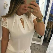 Splice Lace Women Short Sleeve Turtleneck Hollow Out Casual White Color Top