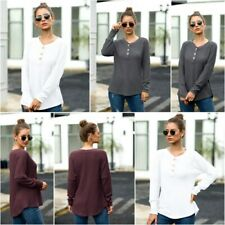 Casual V Neck Knitted Sweater T Shirt Tops Pullover Knitwear Jumper Knit Shirt