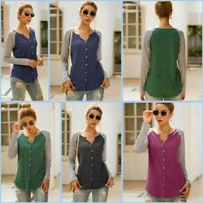 T-Shirt Casual Shirt Top Womens Striped Long Sleeve Loose Blouse V Neck Pullover