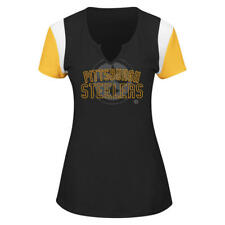 NFL Pittsburgh Steelers Women's Team Pride Notched V-Neck Short Sleeve Shirt Top