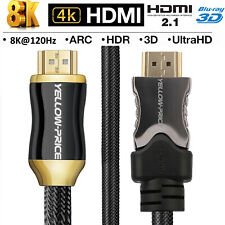 HDMI 2.1 Cable 8K 4K High-Speed Braided Cord 48Gbps 28AWG 3D For Ruku XBOX Lot