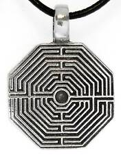 LABYRINTH MAZE Pewter Pendant Leather Necklace Surfer