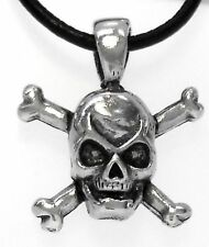 SKULL CROSS BONES PIRATE Pewter Pendant Leather