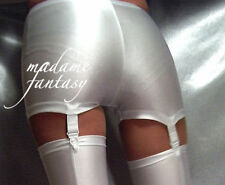 SHINY SPANDEX SHORTS HOT PANTS SUSPENDERS WHITE XS-XXXL