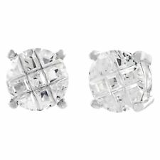 Round Invisible Cut CZ Sterling Silver Basket Set Men Stud Earrings