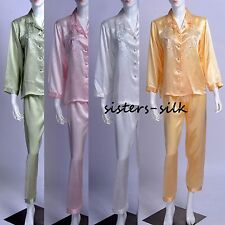 WOMENS 100% SILK SLEEPWEAR NIGHTWEAR PYJAMAS SET LINGERIE NIGHTDRESS NIGHTIES