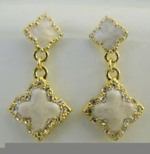 Four Leaf Clover Charm Crystal Enamel Dangling Gold Plated Earrings
