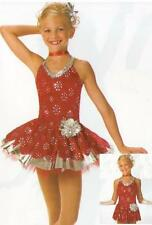RED RED ROSE Tap Dress w/Skirt CHRISTMAS Dance Costume Child XS