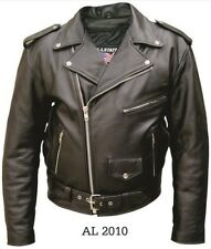 Men Genuine Leather Motorcycle Jacket With 6 Pockets S,M,L,2XL,3XL,4XL,5XL