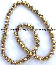 Yellow Glass Quartz Roundel Faceted Beads 17''