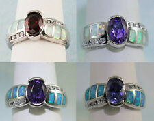 Fire Opal & Oval Stone 8X6 mm 8 CZs Ring Sterling w/ Rhodium 50% Off Retail