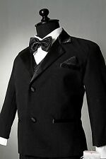 BT28 NEW BOYS TUXEDO BLACK FORMAL SUIT JACQUARD VEST TIE WEDDING RECITAL PARTY