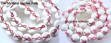Pink Ribbon Breast Cancer Awareness Glass Beads 11mm  *Round Or Coin Shape