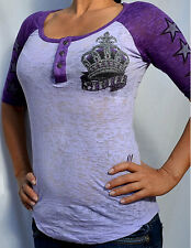 Sinful by Affliction Woman's ROYAL CROWN Raglan Henley Burnout - S2149 - Purple