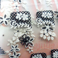 1 X 2D Nail Art Stickers White Pearl & Black Flowers Decals MK