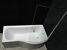 P SHAPE SHOWER BATH GLASS SCREEN FRONT PANEL 1700MM NEW