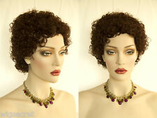 Mid Lenght Layered With Tight Curls Brunette Red Wigs