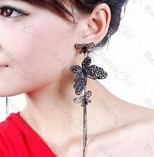 "BIG 3 BUTTERFLY 5""long CHANDELIER EARRINGS slinky tassle BLACK/GOLD PLATED"
