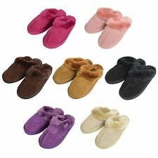 Ladies Real Suede Slippers EGO Brand Mule Slip On Slippers With Faux Fur Lining