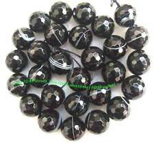 4mm 6mm 8mm 10mm 12mm 14mm 16mm 18mm black stripe Agate round faceted Beads 15""