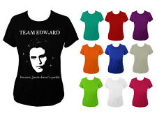 Womens Team Edward Face Twilight Jacob Doesnt Sparkle T-shirt NEW UK 6-16