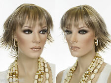 Youthful Mid Length Full Bodied Straight Razor Cut Wigs Flipped Ends Soft Bangs