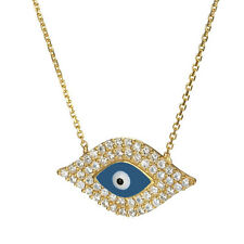 """Sterling Silver Blue Evil Eye Clear CZ Pave Charm Chain Necklace 16"""""""