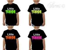 KIDS CUSTOM LITTLE TERROR FUNNY DESIGNER TSHIRT T-SHIRT ALL AGES 5 - 13 YRS