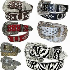 Western Rhinestone Rodeo Lucky Horse shoe Belt Studed Cowgirl Bling 50125