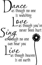 Dance Love Sing With Flower Vinyl Wall Decal Sticker Lettering Words Quote