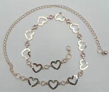 Full Line Heart Rhinestone chain belt wholesale C3125 Gold or silver