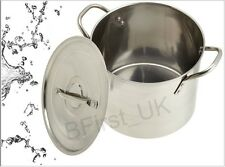 Stainless Steel Deep Stock Soup Pot Saucepan Cooking Pan Stew Catering Set Large
