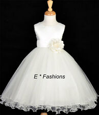 K 4 6 8 10 Tiered Tulle Wedding Pageant Evening Flower Girl Dress Grown Ivory