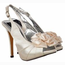 LADIES WOMENS IVORY SATIN HIGH HEEL STILLETO PEEP TOE BRIDAL WEDDING COURT SHOES