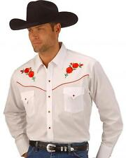 Mens Ely White Embroidered Red Rose Western Cowboy Shirt Line Dance Fancy dress