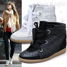 AnnaKastle Womens Hi-Top Genuine Leather Suede Sneaker Wedge Trainer US 5 6 7 8