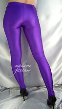 SEXY PURPLE SHINY OPAQUE SPANDEX FOOTED LEGGINGS XS-XXXL Tall