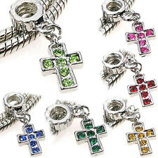 Wholesale 6pcs Silver CZ Cross Dangle European Charm Beads For Bracelet Necklace