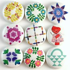 vtg quilt block pattern country fridge magnet pin badge button cab charm gift