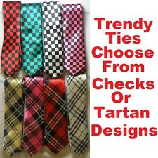 Funky Skinny Ties In Tartan Or Check Tie Designs Inc Red, Pink, Green, Beige