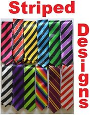 Funky Skinny Ties In Striped Tie Designs inc Black & Red, Pink, Green, White