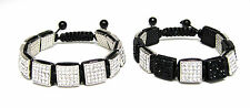 12MM SQUARE ICED OUT WHITE BLACK CZ PAVE BEAD HIP HOP MACRAME BRACELET