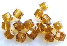 Amber Yellow Glass 4mm 5x6mm Square Cube Faceted Beads 100 pcs