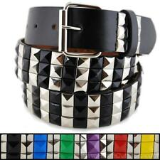 3-Row Metal Pyramid Studded Leather Belt 2-Tone Striped Punk Rock Goth Emo Biker