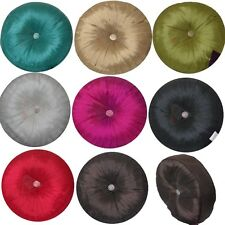 Brand New Beautifully Round Satin Rhinestone Pleated Cushion In 8 Colours 35x35