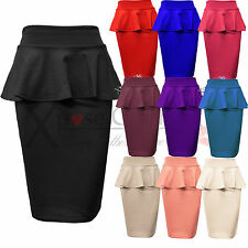 LADIES WOMENS PEPLUM PENCIL SKIRTS BODYCON STRETCH FRILL SKIRT LONG OFFICE WORK