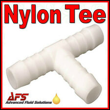 Tee Hose Joiner Plastic Barbed T Connector Pipe Fitting Air Fuel Water Gas WHITE